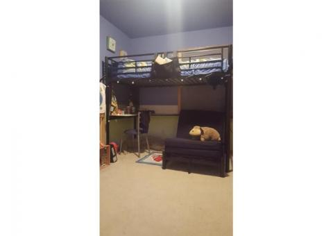 Metal Loft Bed w/ Desk and Futon