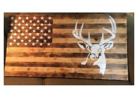 "Wood American Flag w/ deer 37"" X 19.5"""