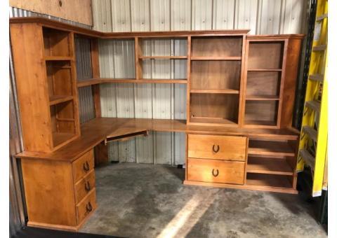 Office desk and shelves
